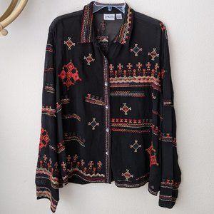 Boho Black Blouse Aztec Embroidery Sz 3